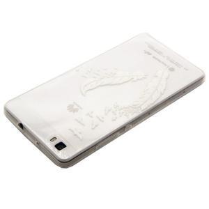 Transparentné gélový obal na Huawei Ascend P8 Lite - vtáčie pierka - 3