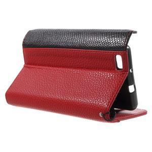Luxusní peněženkové pouzdro na Huawei P8 Lite - červené / černé - 3
