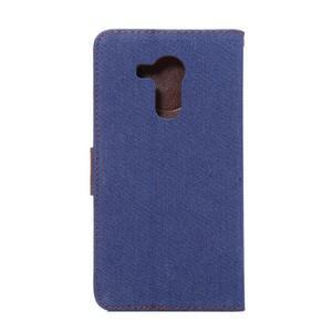 Jeans PU kožené puzdro na mobil Huawei Mate 8 - tmavomodré - 3
