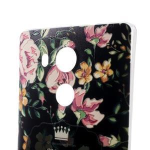 Softy gelový obal na mobil Huawei Mate 8 - květiny na černé pozadí - 3
