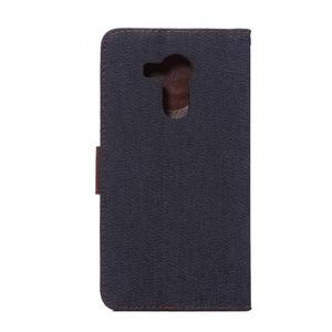 Jeans PU kožené puzdro na mobil Huawei Mate 8 - černomodré - 3