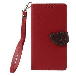 Knižkové PU kožené puzdro na mobil Huawei Mate S - červené - 3