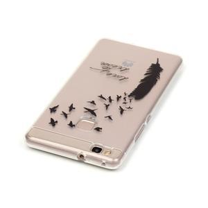 Průhledný gelový obal na mobil Huawei P9 Lite - ptačí pírko - 3