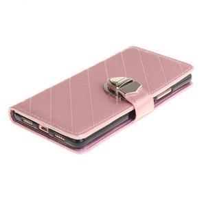 Luxury PU kožené peněženkové pouzdro na Huawei P9 Lite - růžové - 3