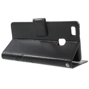 Cloverleaf penženkové pouzdro s kamínky na Huawei P9 Lite - černé - 3