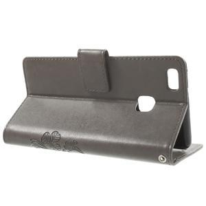 Cloverleaf penženkové pouzdro s kamínky na Huawei P9 Lite - šedé - 3