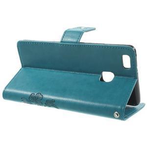 Cloverleaf penženkové pouzdro s kamínky na Huawei P9 Lite - modré - 3