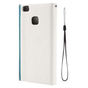 Penženkové pouzdro na mobil Huawei P9 Lite - modrozelené/bílé - 3