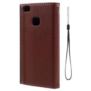 Penženkové pouzdro na mobil Huawei P9 Lite - černé/hnědé - 3