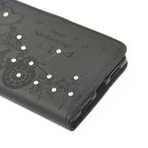 Loves PU kožené pouzdro s kamínky na Huawei P9 Lite - černé - 3