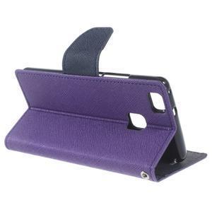 Diary PU kožené pouzdro na telefon Huawei P9 Lite - fialové - 3