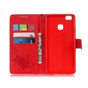 Květinoví motýlci peněženkové pouzdro na Huawei P9 Lite - červené - 3