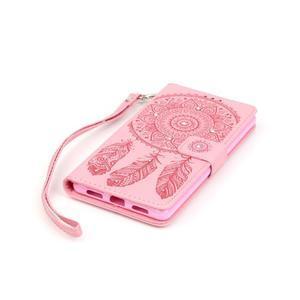Dream PU kožené pouzdro s kamínky na Huawei P9 Lite - růžové - 3