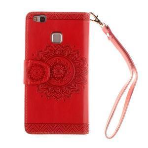 Mandala PU kožené pouzdro na Huawei P9 Lite - červené - 3