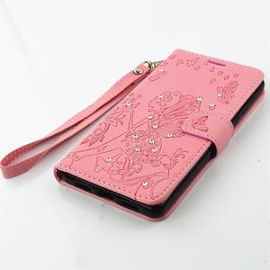 Víla PU kožené pouzdro s kamínky na Huawei P9 Lite - růžové - 3