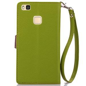 Leaf PU kožené pouzdro na Huawei P9 Lite - zelené - 3