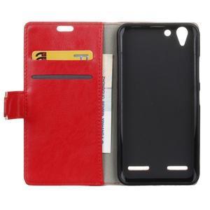 Knížkové PU kožené puzdro pre Lenovo Vibe K5 / K5 Plus - červené - 3