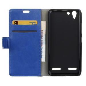 Knížkové PU kožené puzdro pre Lenovo Vibe K5 / K5 Plus - modré - 3