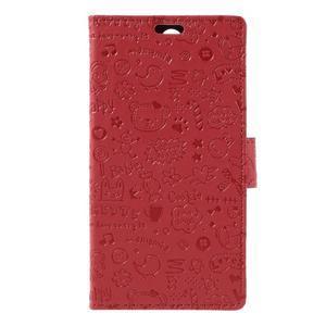 Cartoo peňaženkové puzdro pre Lenovo Vibe S1 - červené - 3