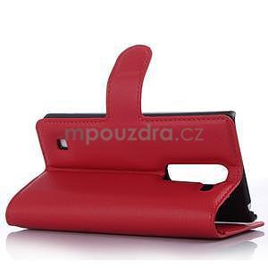 Kožené zapínacie puzdro pre LG Spirit - červené - 3