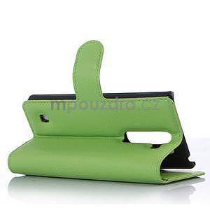 Kožené zapínacie puzdro pre LG Spirit - zelené - 3