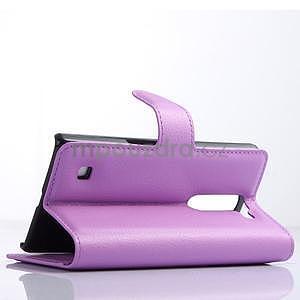 Kožené zapínací puzdro na LG Spirit - fialové - 3