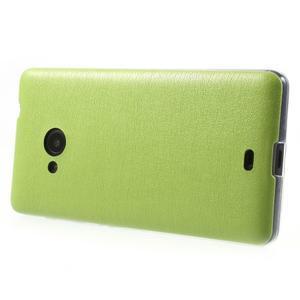 Ultra tenký kožený kryt na Microsoft Lumia 535 - zelený - 3
