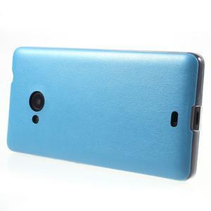 Ultra tenký kryt s koženkovým zadným dielom na Microsoft Lumia 535 - modrý - 3