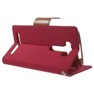 Canvas textilní/PU kožené puzdro na Asus Zenfone 2 Laser - červené - 3