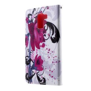 Cross peňaženkové puzdro na Huawei Honor 7 - fialové květy - 3