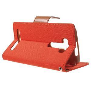 Canvas textilní/PU kožené puzdro na Asus Zenfone 2 Laser - oranžové - 3
