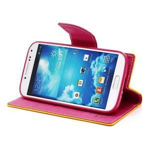 Fancy peňaženkové puzdro pre Samsung Galaxy S4 - žlté - 3