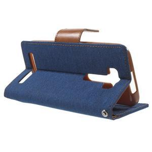 Canvas textilní/PU kožené puzdro na Asus Zenfone 2 Laser - modré - 3