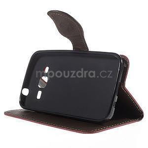 Rose/hnedé peňaženkové puzdro pre Samsung Galaxy Core Prime - 3