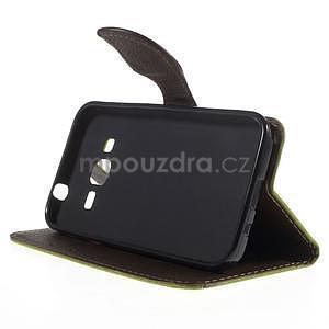 Zelené/hnedé peňaženkové puzdro pre Samsung Galaxy Core Prime - 3