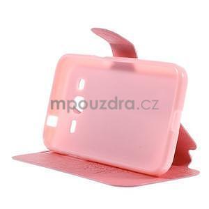 Zapínací peněženkové pouzdro na Samsung Galaxy Core Prime - růžové - 3