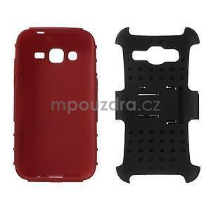 Extrémne odolný obal so stojanom pre Samsung Galaxy Core Prime - červený - 3