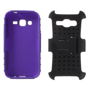 Extrémne odolný obal so stojanom pre Samsung Galaxy Core Prime - fialový - 3