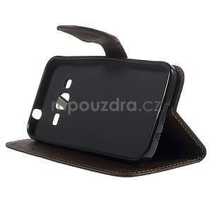 Černé/hnedé peňaženkové puzdro pre Samsung Galaxy Core Prime - 3
