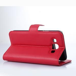 Kožené peňaženkové puzdro na Samsung Galaxy E5 - červené - 3