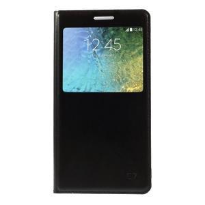 Kožené peňaženkové puzdro s okienkom - čierné - 3