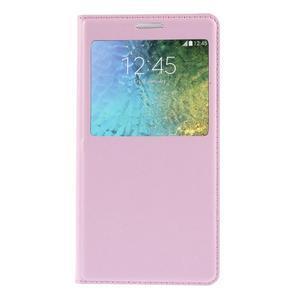 Kožené peňaženkové puzdro s okienkom - ružové - 3