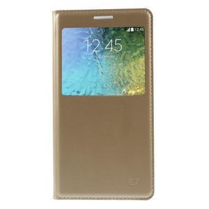 Kožené peňaženkové puzdro s okienkom - zlaté - 3