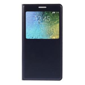Kožené peňaženkové puzdro s okienkom - tmavo modré - 3