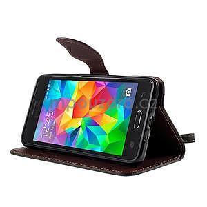 Čierné/hnedé zapínací peňaženkové puzdro na Samsung Galaxy Grand Prime - 3