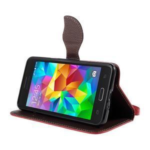 Červené/hnedé zapínací peňaženkové puzdro na Samsung Galaxy Grand Prime - 3