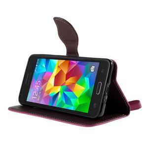 Rose/hnedé zapínací peňaženkové puzdro na Samsung Galaxy Grand Prime - 3