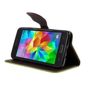 Zelené/hnedé zapínací peňaženkové puzdro na Samsung Galaxy Grand Prime - 3