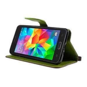 Hnedé/zelené zapínací peňaženkové puzdro pre Samsung Galaxy Grand Prime - 3