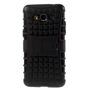 Vysoce odolný kryt se stojánkem na Samsung Galaxy Grand Prime - čierny - 3
